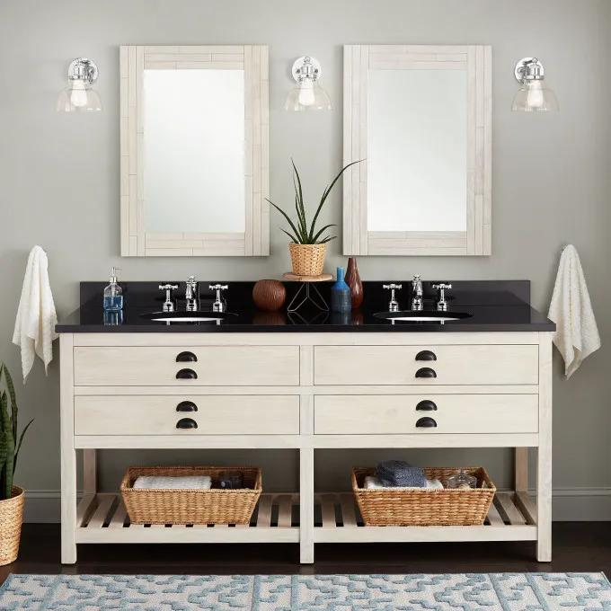"72"" Ansel Double Console Vanity for Undermount Sinks - Whitewash Pine"