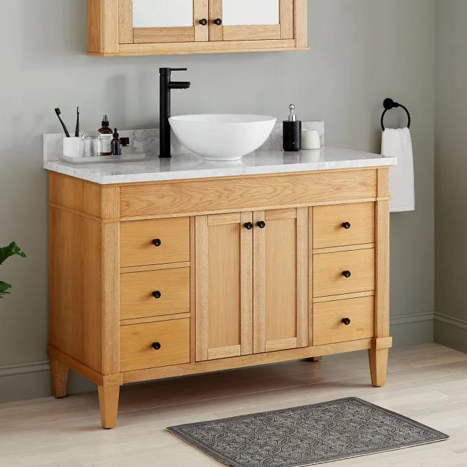 "48"" Trossman Vanity for Vessel Sink - White Oak"