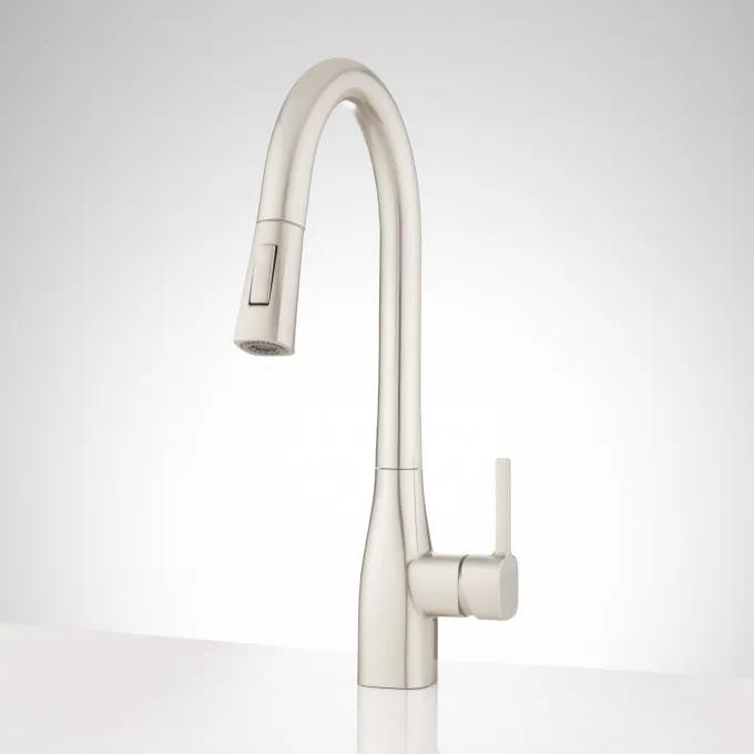 Carin Single-Hole Pull-Down Kitchen Faucet - Stainless Steel