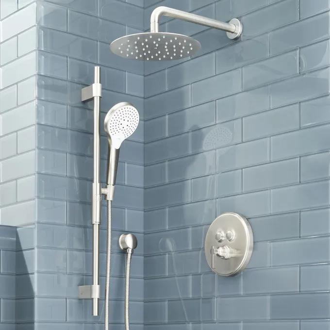 Greyfield Simple Select Shower System with Wall-Mount Rainfall Shower and Hand Shower