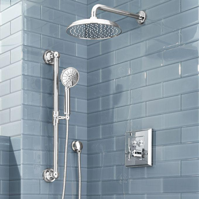 Pinecrest Simple Select Shower System with Rainfall Shower and Hand Shower - Cross Handle