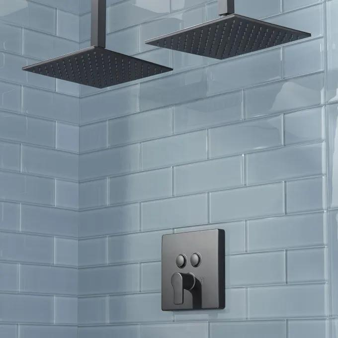 Hibiscus Simple Select Dual Shower Head Shower System - Matte Black
