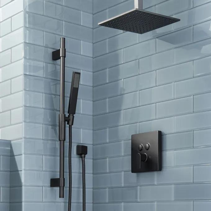 Hibiscus Simple Select Shower System with Rainfall Shower and Hand Shower - Matte Black