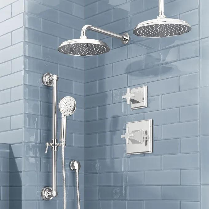 Pinecrest Pressure Balance Shower System with Dual Shower Heads and Hand Shower - Cross Handles - Chrome