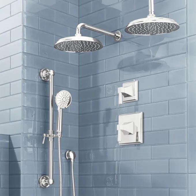 Pinecrest Pressure Balance Shower System with Dual Shower Heads and Hand Shower - Lever Handles - Chrome