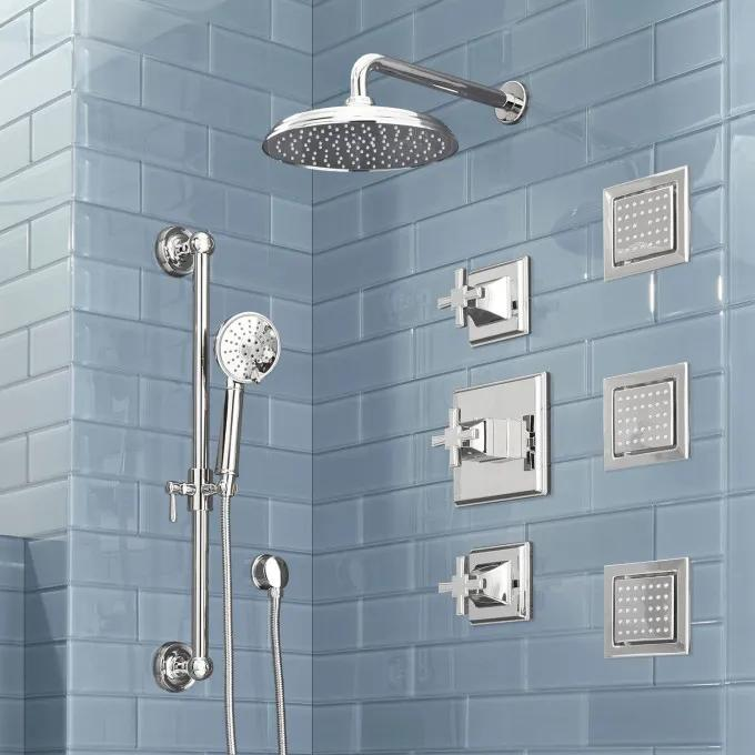 Pinecrest Thermostatic Shower System with Hand Shower and 3 Body Sprays - Cross Handles - Chrome