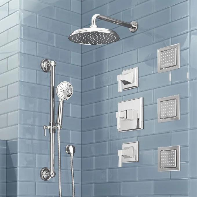 Pinecrest Thermostatic Shower System with Hand Shower and 3 Body Sprays - Lever Handles - Chrome