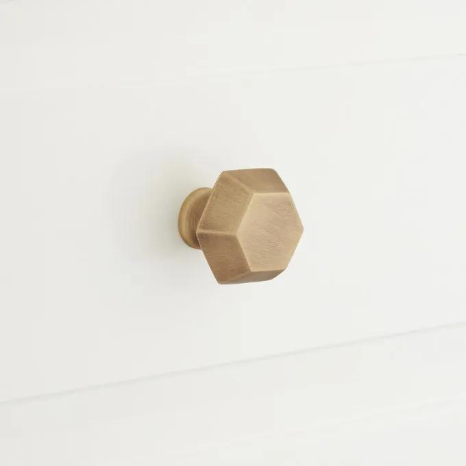 Kalska Solid Brass Hexagonal Cabinet Knob - Antique Brass