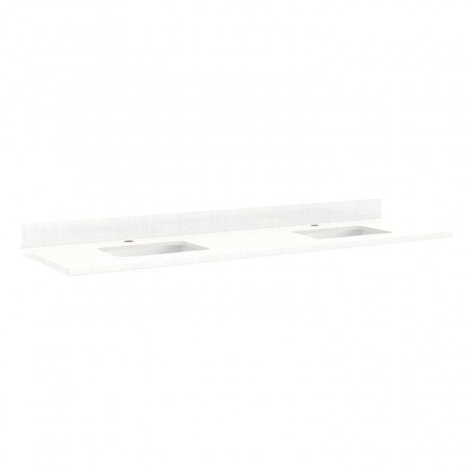 """73"""" Quartz Top for Rectangular Sinks - 42"""" Centers - 1 Hole - Feathered White - White Sinks"""