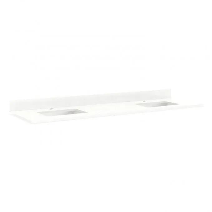 """73"""" Quartz Top for Rectangular Sinks - 48"""" Centers - 1 Hole - Feathered White - White Sinks"""