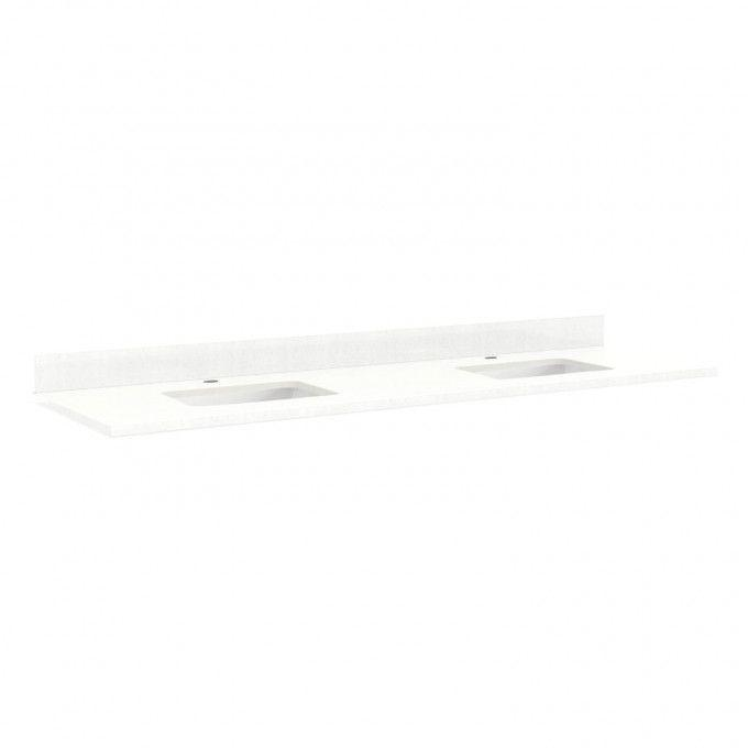 """73"""" Quartz Top for Rectangular Sinks - 36"""" Centers - 1 Hole - Feathered White - White Sinks"""