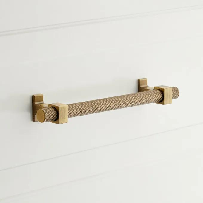 Andrex Knurled Cabinet Pull - Antique Brass