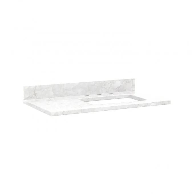 """37"""" x 22"""" 3cm Marble Top with Rect Undermount White Sink - Right Offset - Carrara Marble - 8"""" Faucet Holes"""