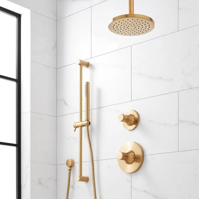 Lentz Shower System with Rainfall Shower Head and Hand Shower - Knob Handle - Brushed Gold