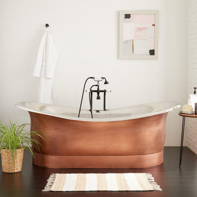 """78"""" Extra Wide Marcy Hammered Copper Double-Slipper Tub - Nickel Interior"""