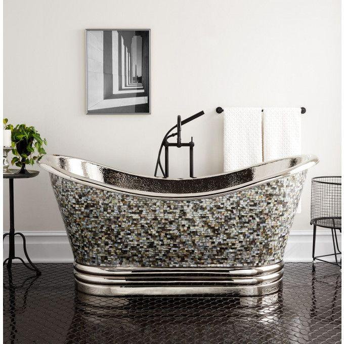 """71"""" Raye Mother-of-Pearl Copper Double-Slipper Tub - Nickel Base and Interior"""