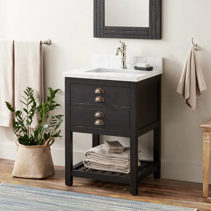 """24"""" Ansel  Console Vanity for Rectangular Undermount Sink - Rustic Black"""