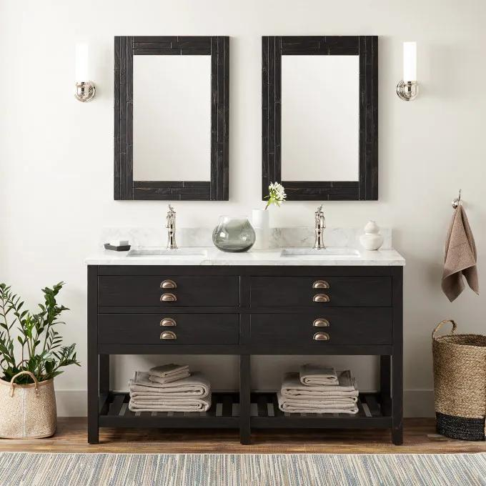 """60"""" Ansel Double Console Vanity for Rectangular Undermount Sink - Rustic Black"""