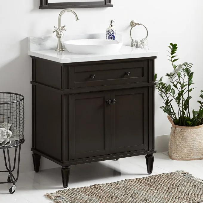 "30"" Elmdale Vanity for Semi-Recessed Sink - Charcoal Black"