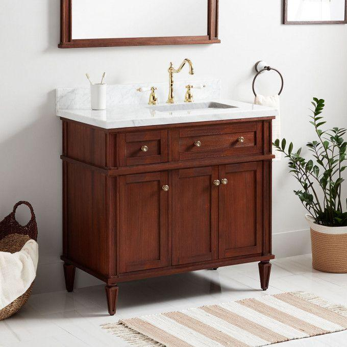 "36"" Elmdale Vanity for Right Offset Rectangular Undermount Sink - Antique Brown"