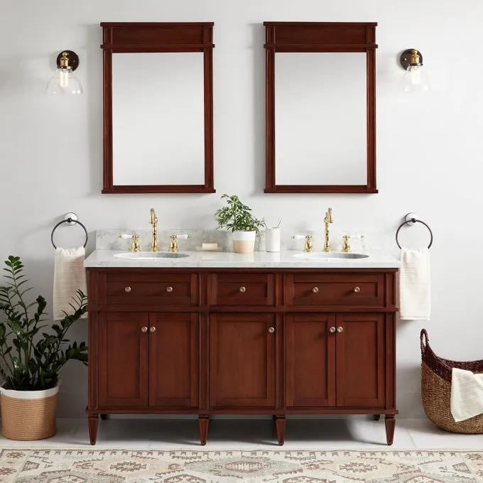 "60"" Elmdale Double Vanity for Undermount Sinks - Antique Brown"