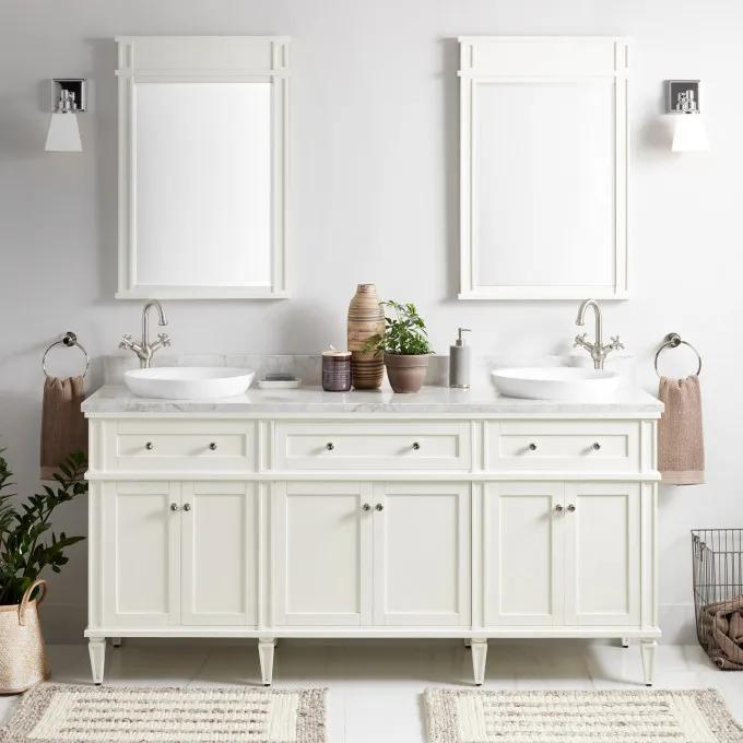 """72"""" Elmdale Double Vanity for Semi-Recessed Sinks - White"""