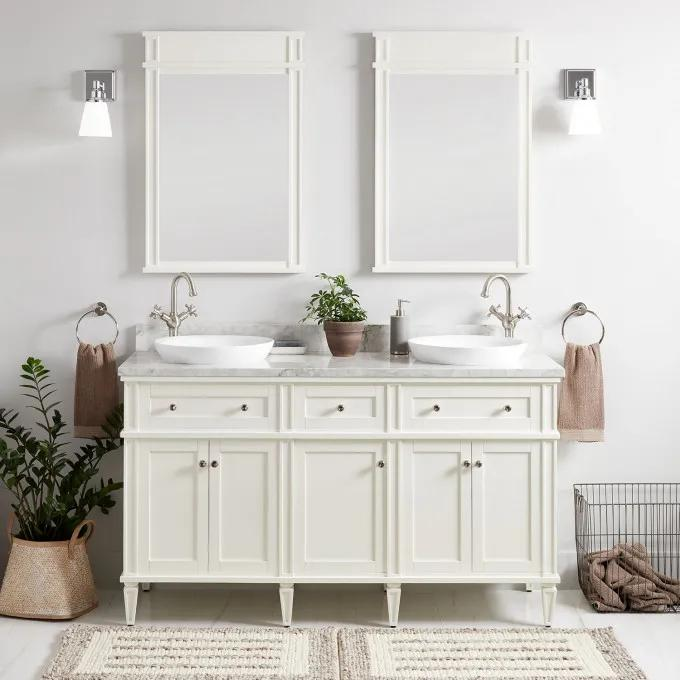 """60"""" Elmdale Double Vanity for Semi-Recessed Sinks - White"""