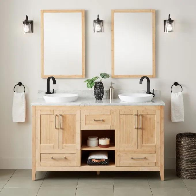 """60"""" Burfield Bamboo Double Vanity for Semi-Recessed Sinks - Natural Bamboo"""