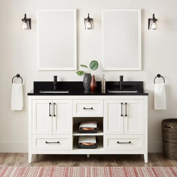 """60"""" Burfield Double Vanity for Rect Undermount Sinks - Soft White"""
