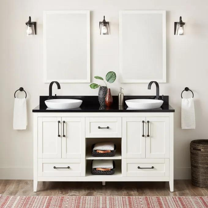 """60"""" Burfield Double Vanity for Semi-Recessed Sinks - Soft White"""