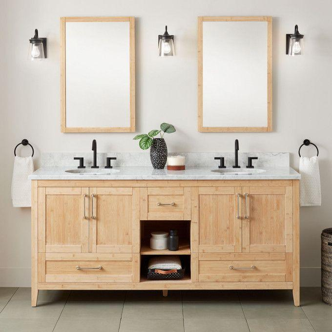 """72"""" Burfield Bamboo Double Vanity for Undermount Sinks - Natural Bamboo"""