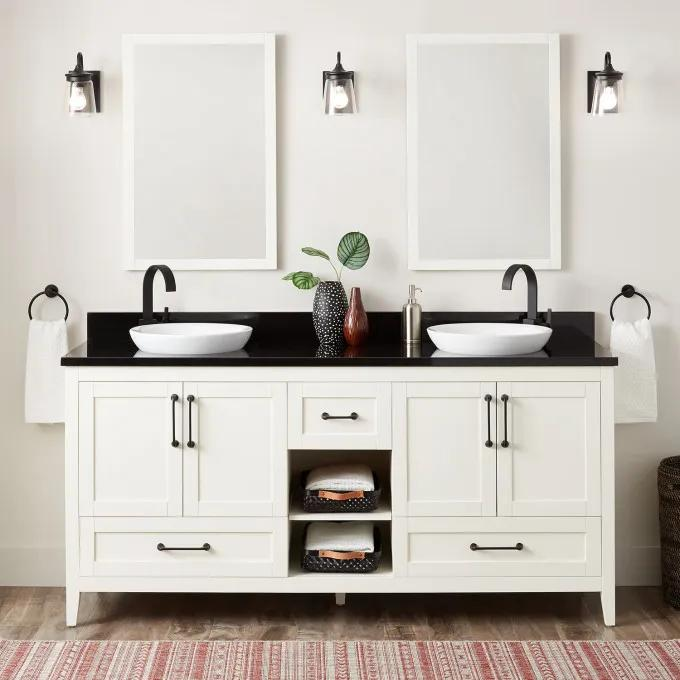 """72"""" Burfield Double Vanity for Semi-Recessed Sinks - Soft White"""