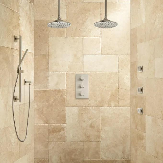 Labelle Thermostatic Dual Shower System - Brushed Nickel