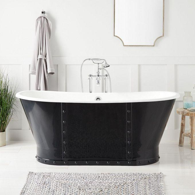 "67"" Brayden Bateau Cast Iron Skirted Tub - Navy Blue"