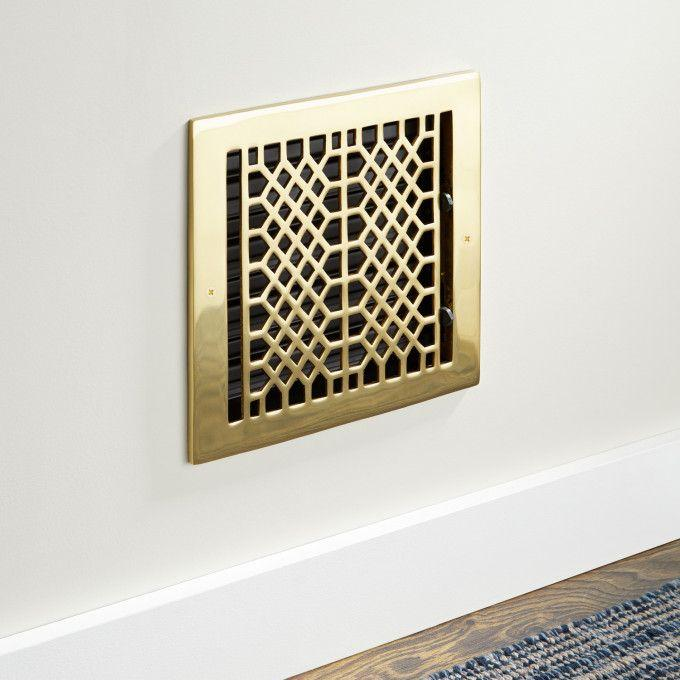 Oversized Antique Solid Brass Wall Register