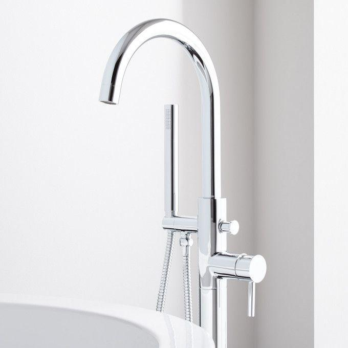 Lethe Freestanding Tub Faucet with Hand Shower - Chrome Detail