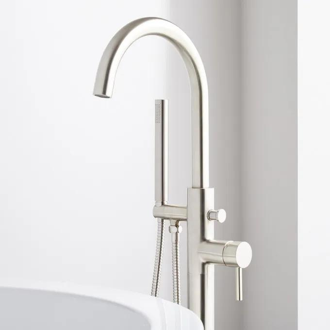 Lethe Freestanding Tub Faucet with Hand Shower - Brushed Nickel Detail