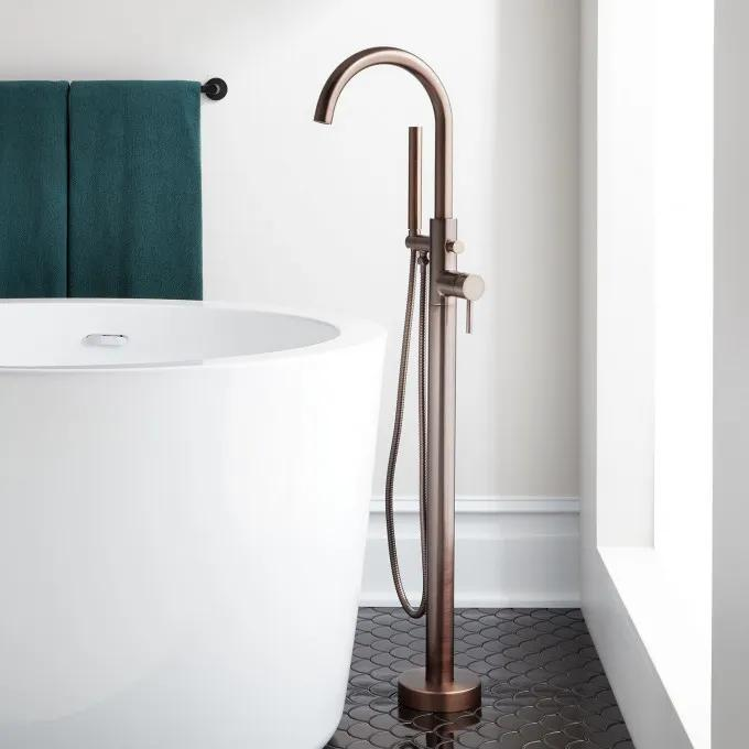Lethe Freestanding Tub Faucet with Hand Shower - Oil Rubbed Bronze