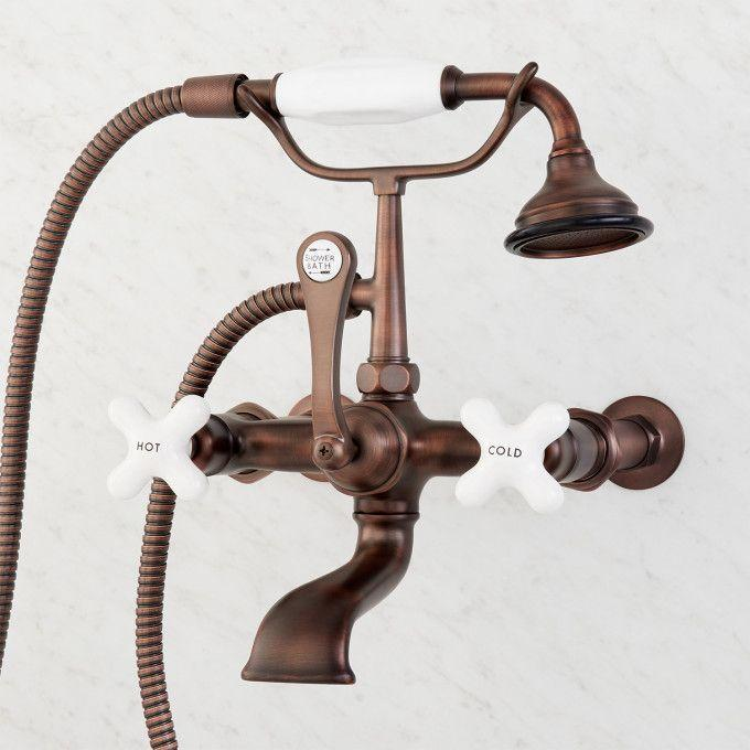 """Wall-Mount Telephone Faucet with Porcelain Cross Handle and 4"""" Wall Couplers - Oil Rubbed Bronze"""