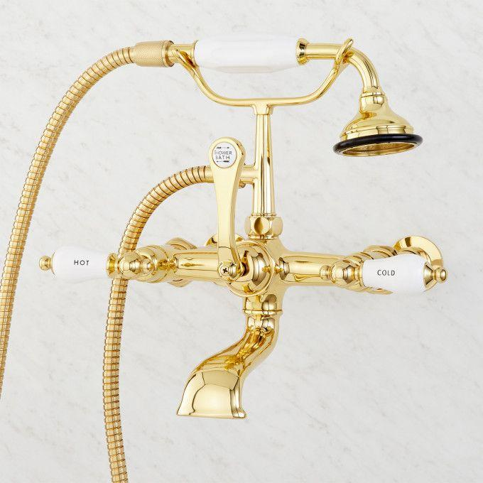 Wall-Mount Telephone Faucet and Hand Shower- Porcelain Lever Handle- Polished Brass