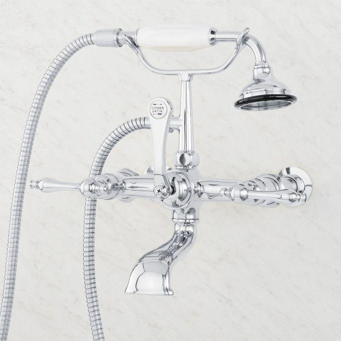 Wall-Mount Telephone Faucet and Hand Shower - Lever Handle - Chrome