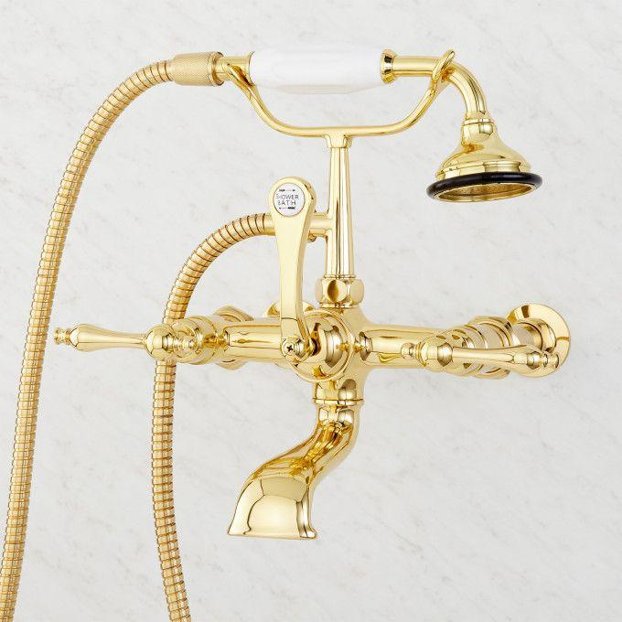 """Wall-Mount Telephone Faucet with Lever Handles and 4"""" Wall Couplers - Polished Brass"""