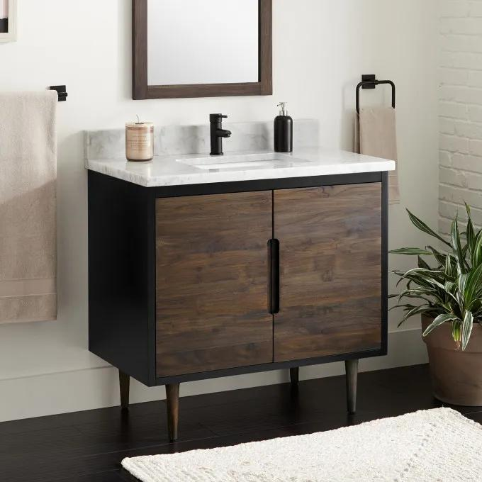 "36"" Bivins Walnut/Black Teak Bathroom Vanity for Rectangular Undermount Sink"