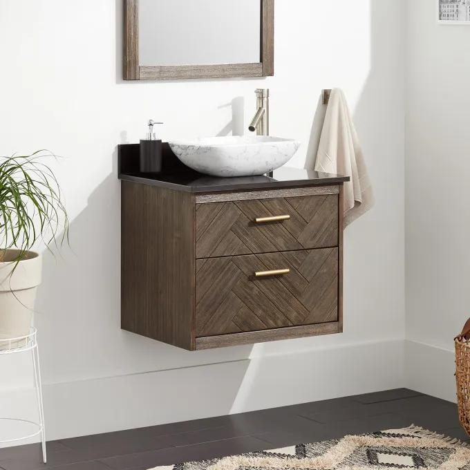 """24"""" Frey Vanity Top With Right Faucet Hole Configuration - Vanity for Vessel Sink - Gray Wash"""