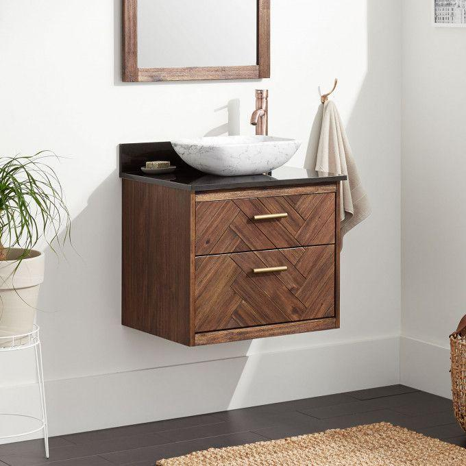 """24"""" Frey Vanity Top With Right Faucet Hole Configuration - Vanity for Vessel Sink - Russet Brown"""