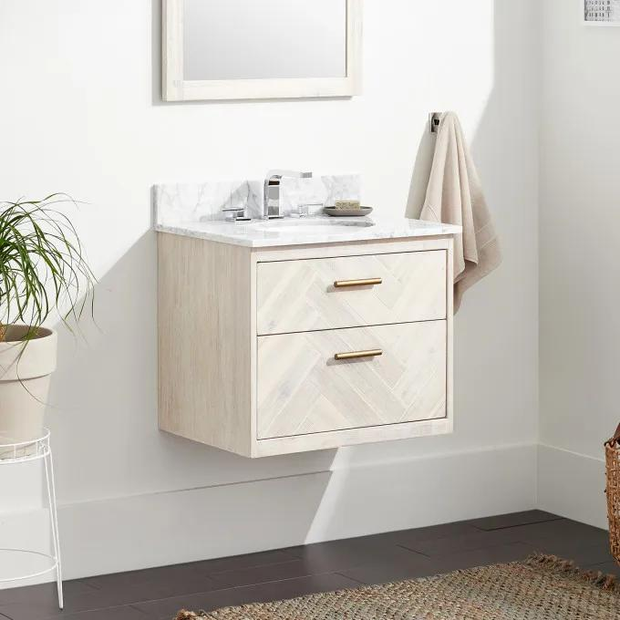 """24"""" Frey Vanity Top With 8"""" Widespread Faucet Holes - Vanity for Undermount Sink - Whitewash"""