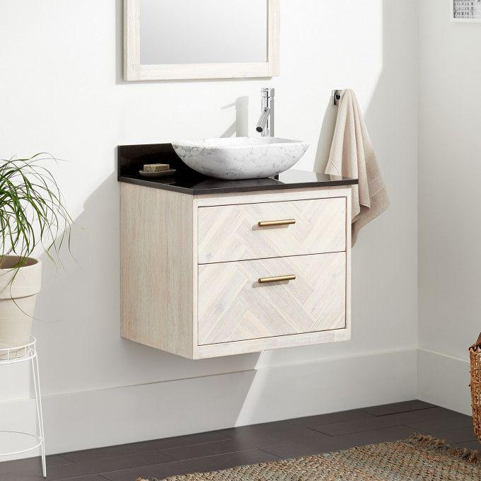"""24"""" Frey Vanity Top With Right Faucet Hole Configuration - Vanity for Vessel Sink - Whitewash"""