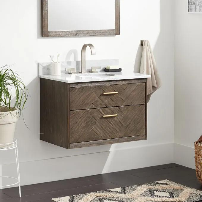 """30"""" Frey Vanity Top With 8"""" Widespread Faucet Holes - Vanity for Undermount Sink - Gray Wash"""
