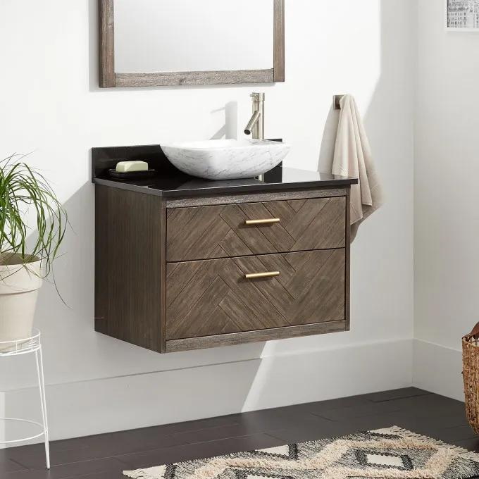 """30"""" Frey Vanity Top With Right Faucet Hole Configuration - Vanity for Vessel Sink - Gray Wash"""