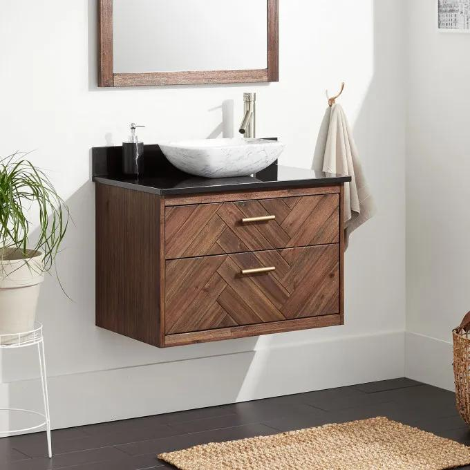 """30"""" Frey Vanity Top With Right Faucet Hole Configuration - Vanity for Vessel Sink - Russet Brown"""